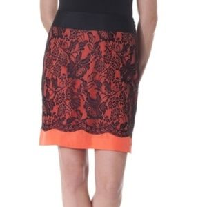 Orange and Black Floral Lace Pencil Skirt